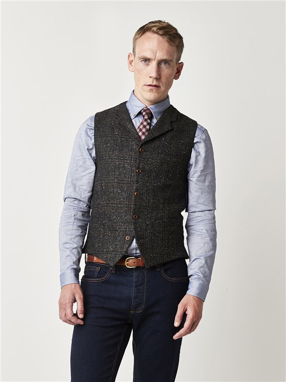 Gibson Charcoal Check Slim Fit Waistcoat