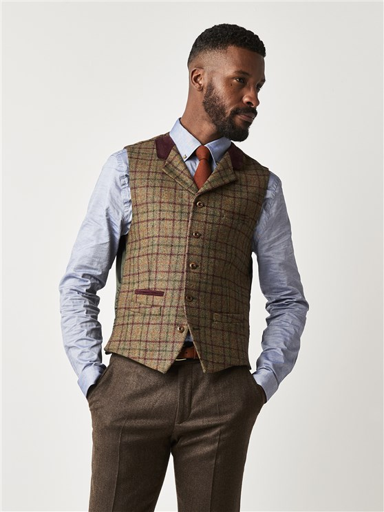 Green and Burgundy Check Slim Fit Waistcoat