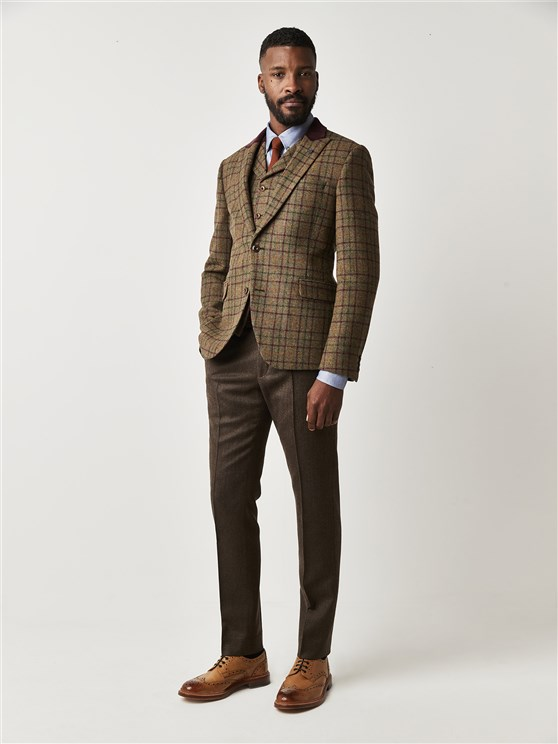 Hawksworth Green and Burgundy Check Tailor Fit Jacket