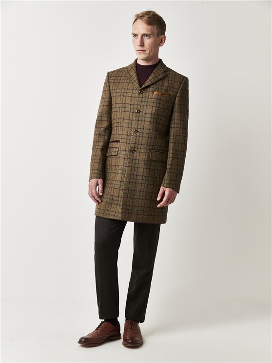 Hawksworth Sage & Burgundy Checked Tailor Fit Winnie