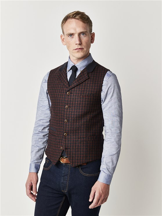 Red and Blue Check Slim Fit Waistcoat