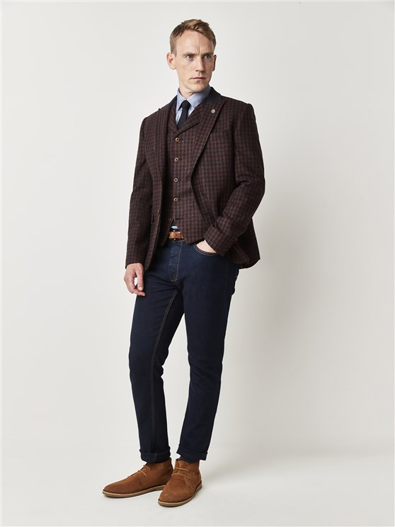 Red and Blue Checked Tailor Fit Suit Jacket