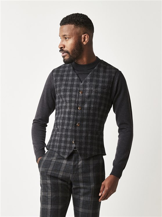 Charcoal Checked Slim Fit Waistcoat