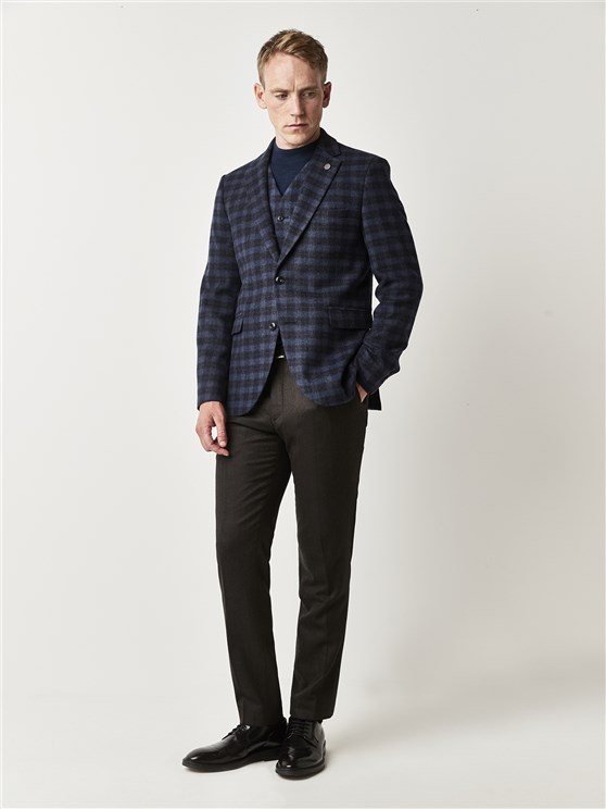 Blue Checked Tailored Fit Suit Jacket