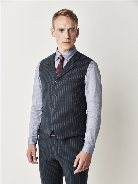 Carnaby Classic Blue Striped Slim Fit Waistcoat