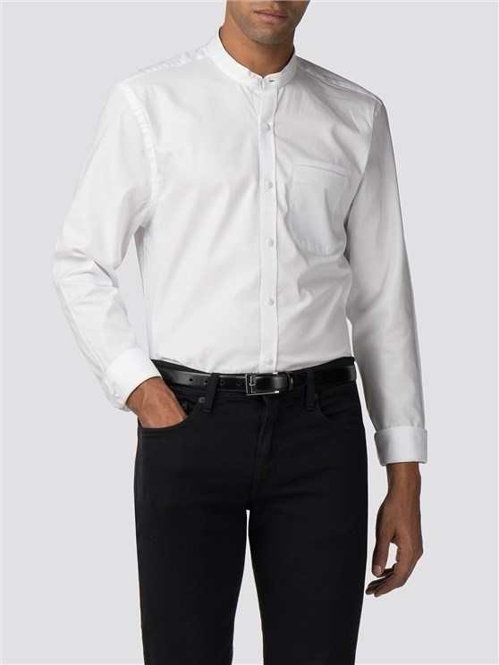White Slim Fit Grandad Collar Shirt