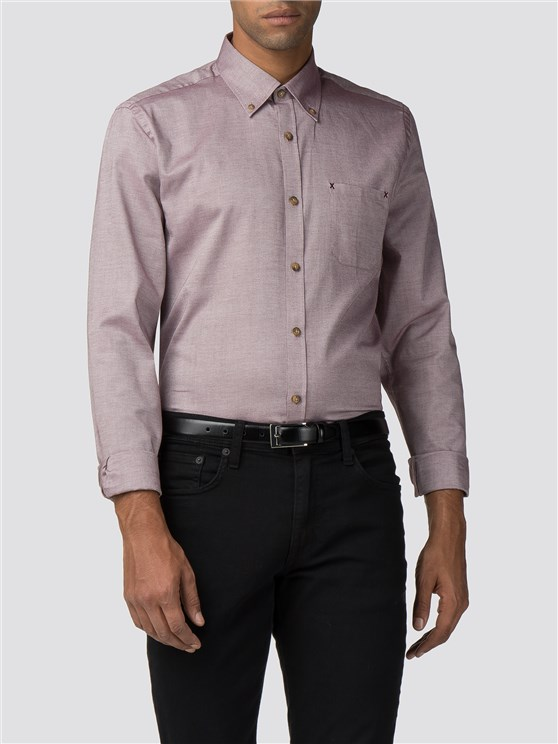 Berry Slim Fit Button Down Shirt