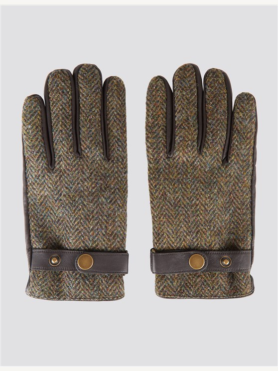 Green Harris Tweed Gloves
