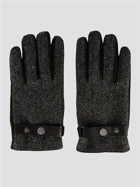Black Harris Tweed Gloves