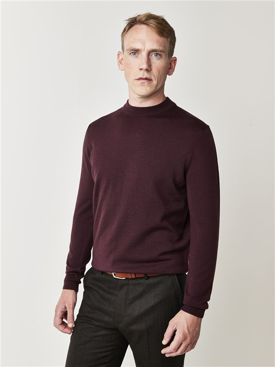 Burgundy Turtle Neck Jumper