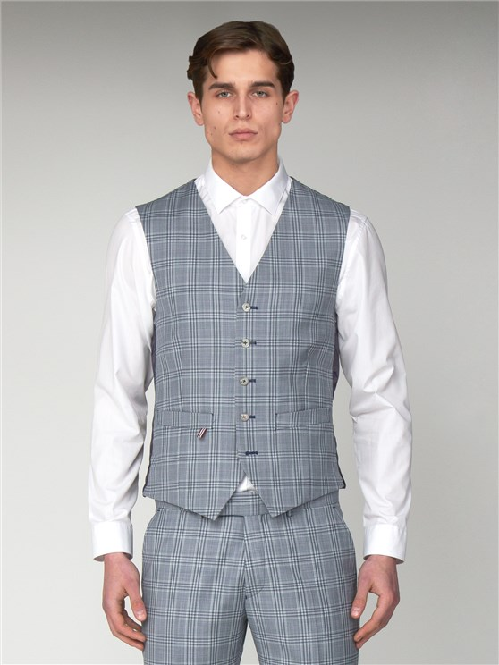 Dover Blue Checked Slim Fit Waistcoat