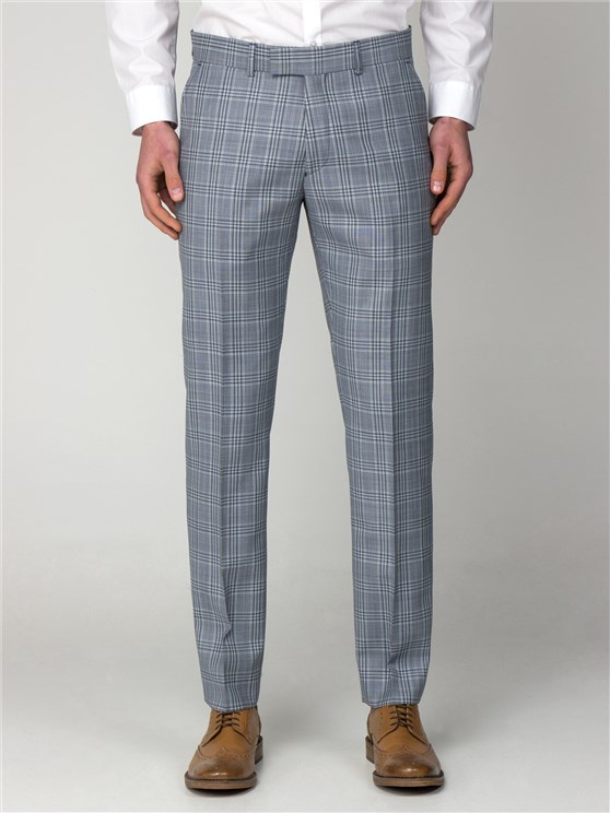 Dover Blue Checked Slim Fit Trousers