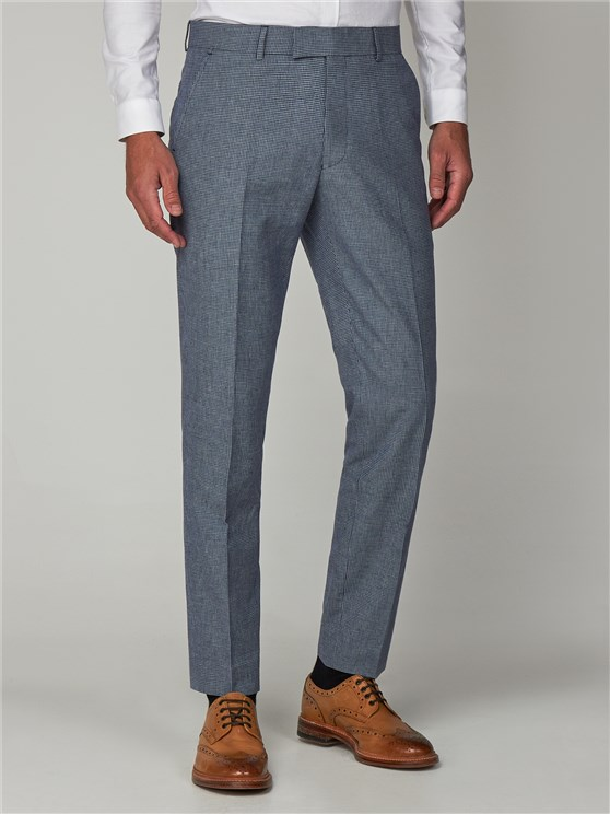 Brassey Navy Micro Checked Slim Fit Trousers