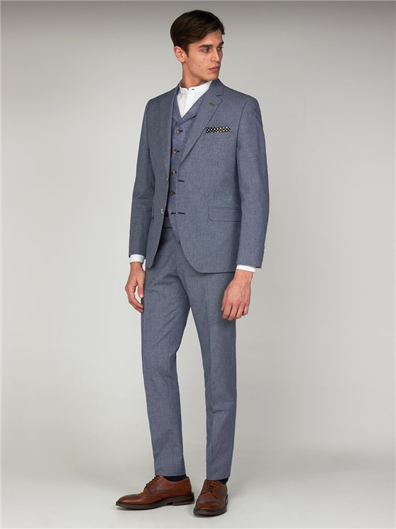 Brassey Blue Micro Checked Slim Fit Suit Jacket