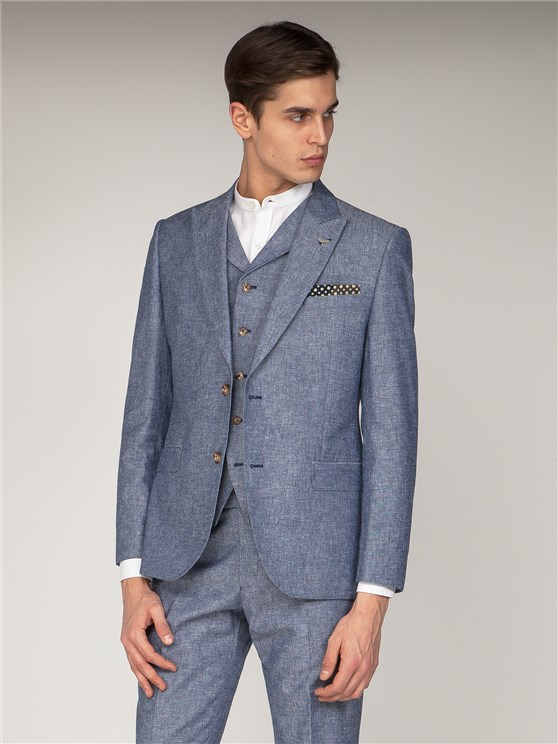 Chantrey Dark Blue Linen Suit Jacket