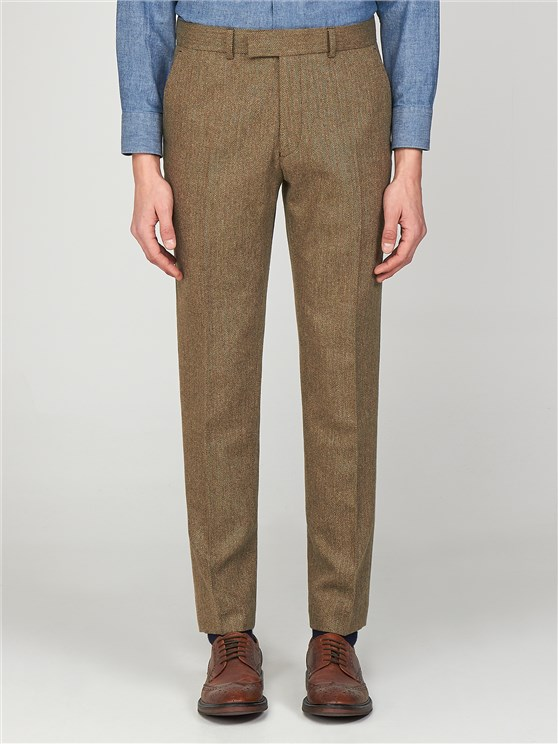 Pimlico Men's Brown Herringbone Slim Fit Radisson Trousers