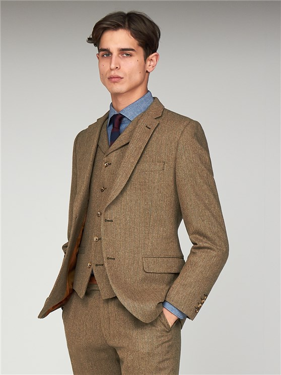 The Pimlico Men's Brown Herringbone Suit Jacket