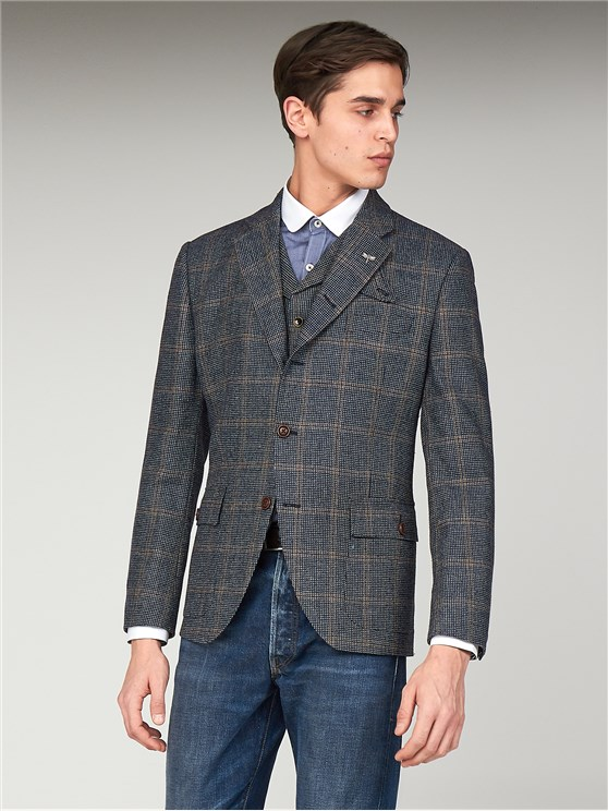 Anthenaeum Navy & Brown Checked Tailor Fit Blazer