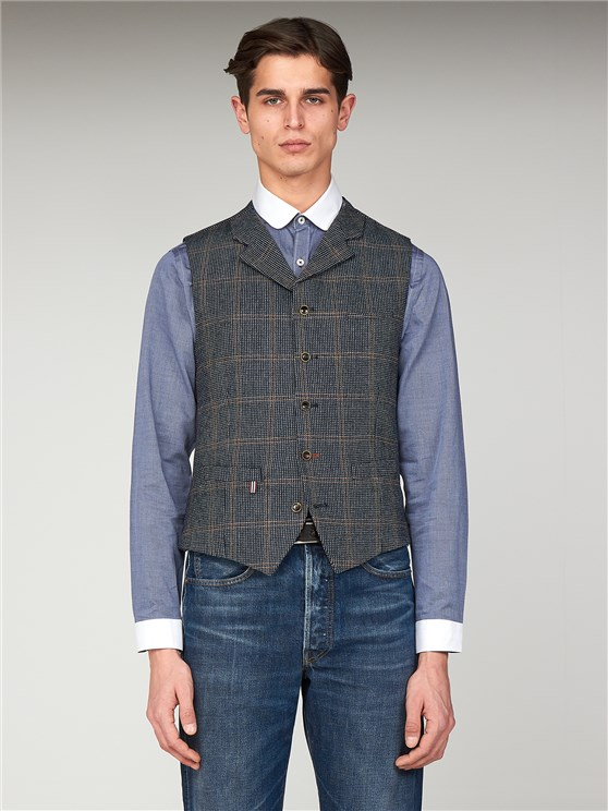 The Anthenaeum Navy & Brown Checked Slim Fit Tyburn Waistcoat