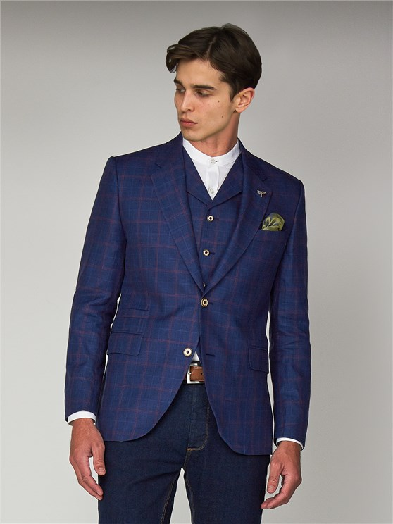 Ecclestone Blue Linen Checked Tailor Fit Blazer