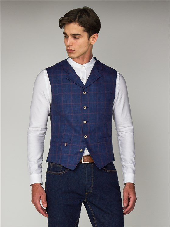 Blue Linen Checked Slim Fit Waistcoat