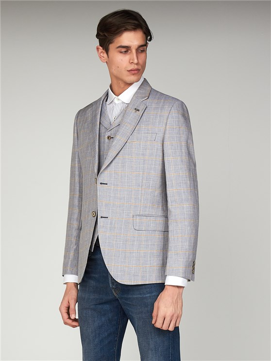 Fiennes Pale Blue Linen Checked Slim Fit Jacket