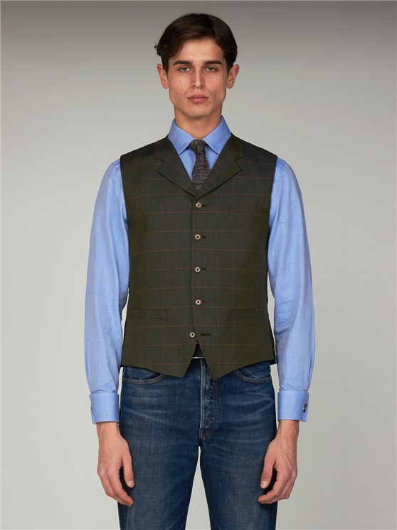 Green Check Linen Slim Fit Waistcoat