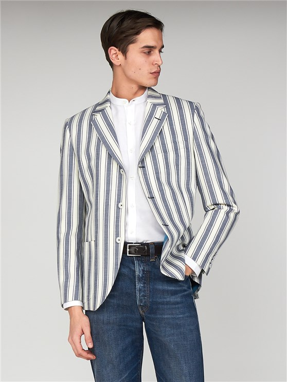 Russell Maritime Blue & Cream Striped Tailor Fit Blazer