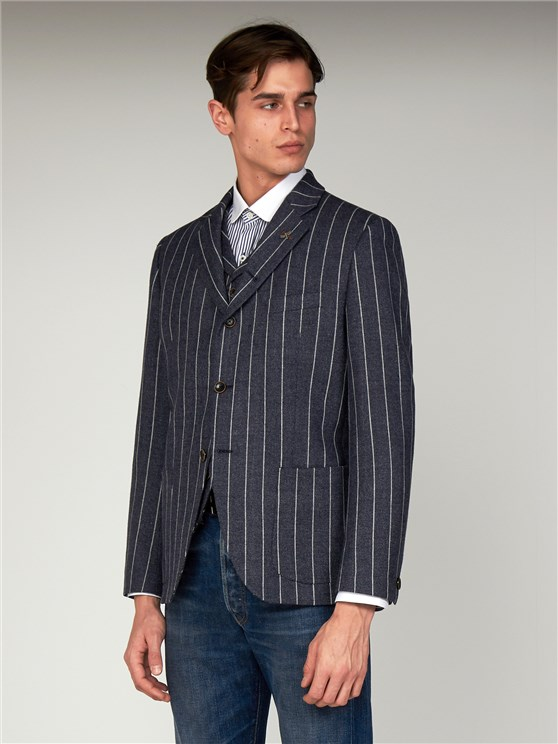 Pearson Blue Wide Striped Tailor Fit Jacket
