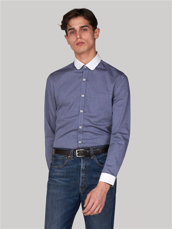 Hungerford Slim Fit Dark Blue Penny Collar Shirt