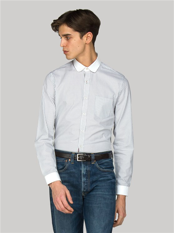 Hudson Slim Fit Grey Striped Shirt with White Collar