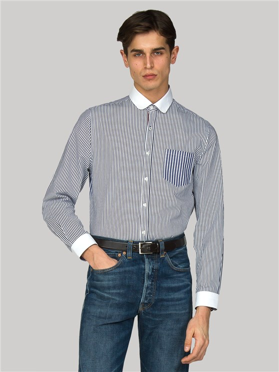 Russell Slim Fit Maritime Blue & White Striped Shirt