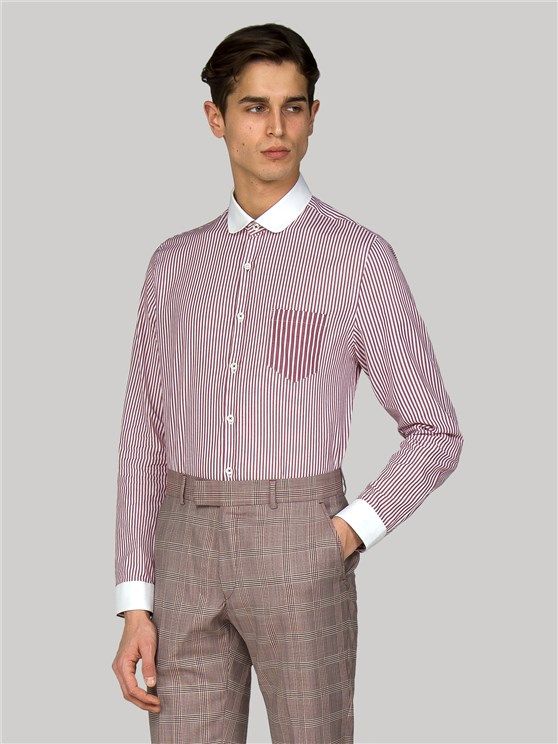 Bermondsey Slim Fit Berry Striped Shirt