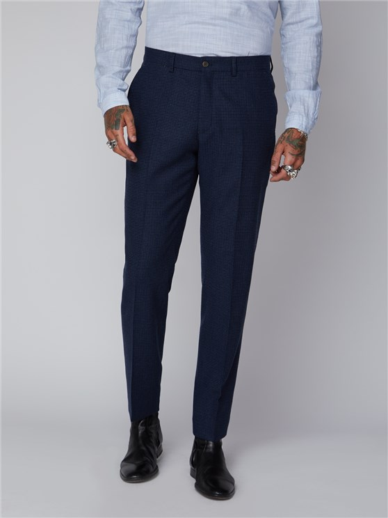 DARK BLUE PUPPYTOOTH TROUSER