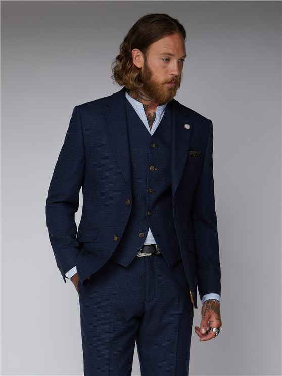 Beyer Dark Blue Puppytooth Suit Jacket
