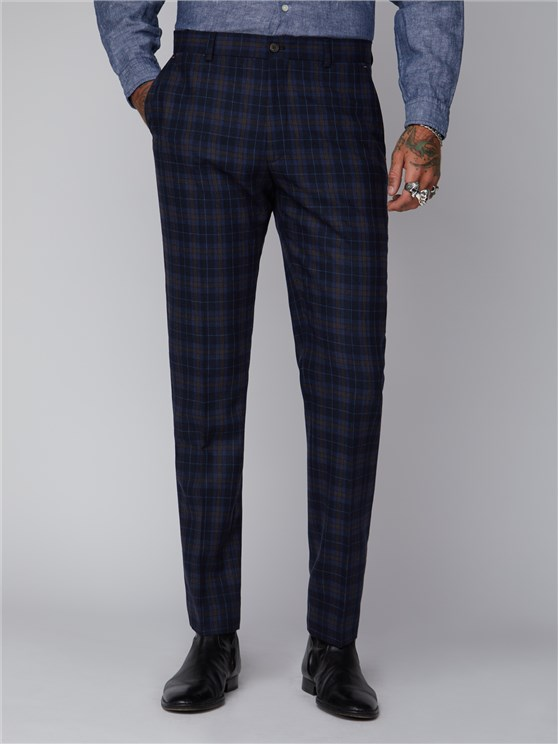 Bouch Blue & Brown Tartan Suit Trousers