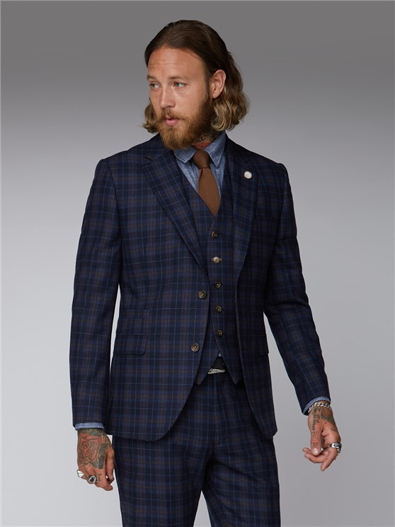 Bouch Blue & Brown Tartan Suit Jacket
