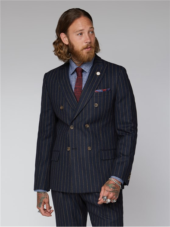 Navy Chalk Stripe Double Breasted Jacket