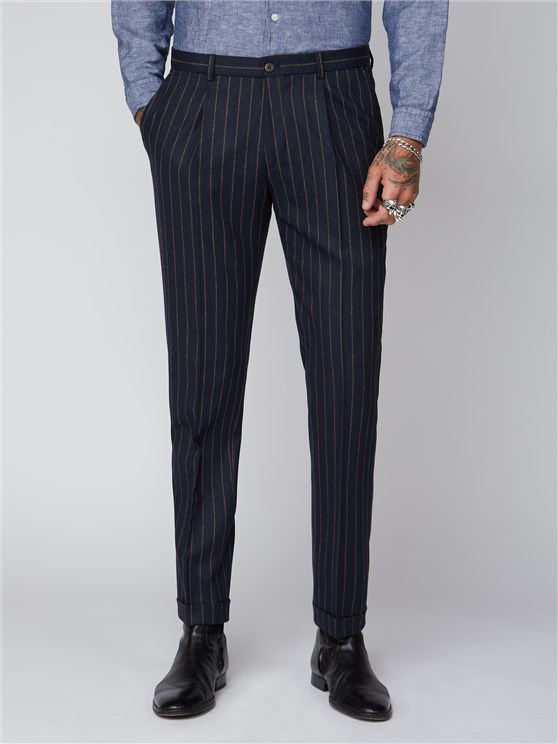 Hutton Navy Chalk Stripe Pleated Trousers