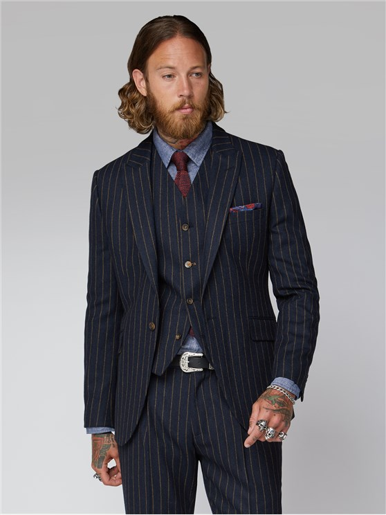 Hutton Navy Chalk Stripe Single Breasted Suit