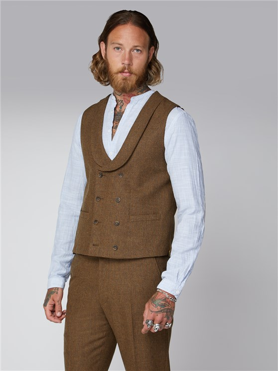 Stroudley Gold Puppytooth Waistcoat