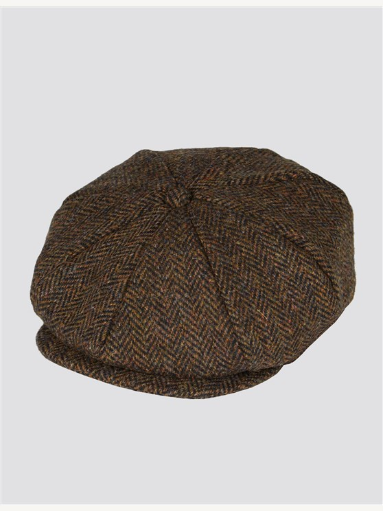 Brown Herringbone Harris Tweed Hat