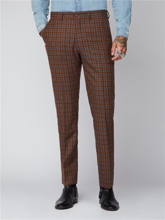 Delancey Tan, Teal & Orange Checked Suit Trousers