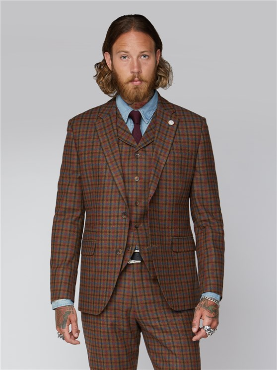 Delancey Tan, Teal & Orange Checked Suit Jacket