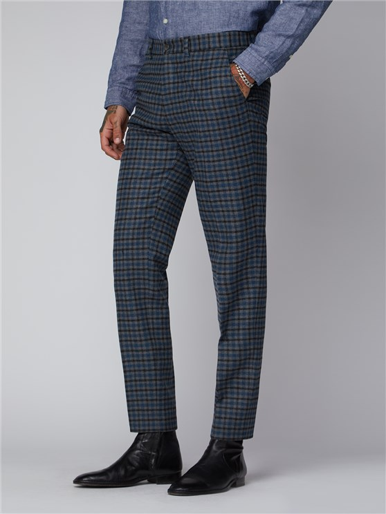 Grey Black Teal Graph Check Trousers
