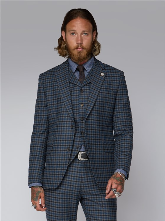 Sinclair Grey, Black & Blue Checked Suit