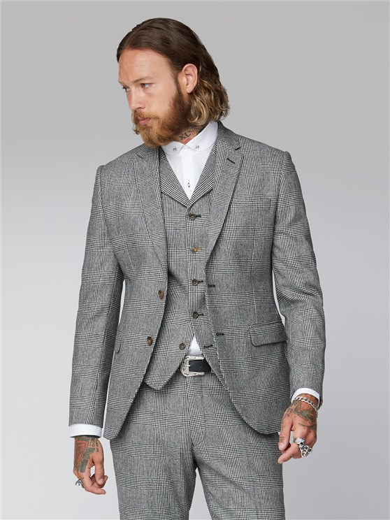 Leeman Black and White Check Suit
