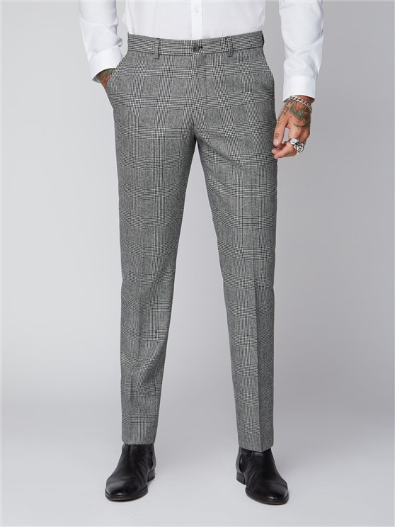Leeman Black and White Check Trousers
