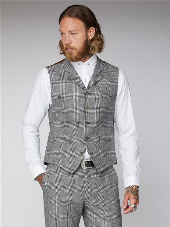 Black and White Check Waistcoat