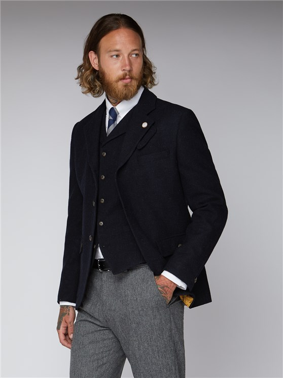 Cyrus Navy and Black Mini Check Jacket